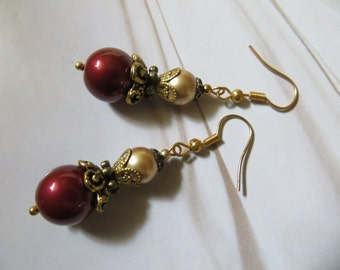RED GOLD ANTIQUE Earrings Pearl Handmade Brass Filigree Swarovski Vintage Jewellery Paris French Provincial Shabby Chic Jewelry Machericomau