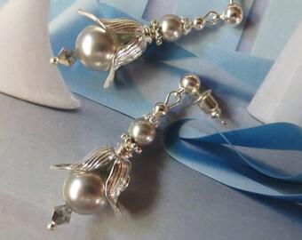 Modern Tulip Silver Pearl Earrings Swarovski Crystal Earrings Grey Pearl Earrings Wedding Jewelry Bridal Earrings stud drop earrings Gift