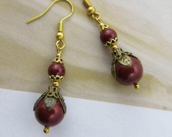 RED PEARL Earrings Drop Earrings Brass Antique jewelry Mothers Day Gift Victorian Swarovski wedding earrings bridesmaid earrings jewellery