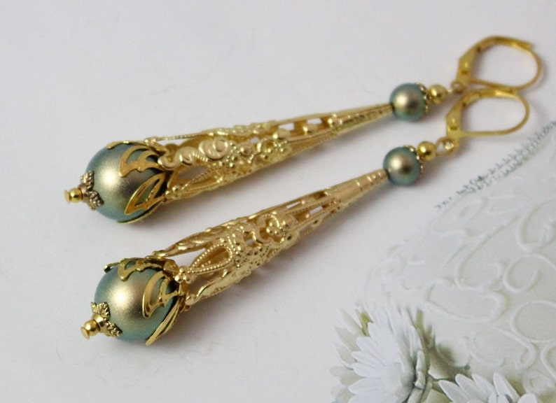 Gold Earrings for Women Gift Ideas for Her Bridesmaid Gift Vintage Pearl Earrings Green Earrings Long Earrings Gold Filigree Earrings