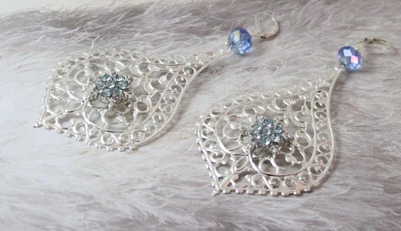 Chandelier Earrings Blue Crystal Boho Statement Earrings Bridesmaids Gifts Teardrop Earrings Filigree Silver Earrings Big Boho Earrings