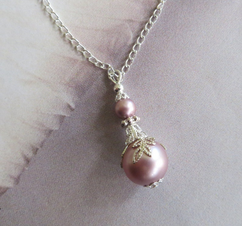 Silver Filigree Leaf Pink Pearl Pendant Necklace Necklace Antique Jewelry Vintage Wedding Jewellery Romantic Wedding Day Gift for Her