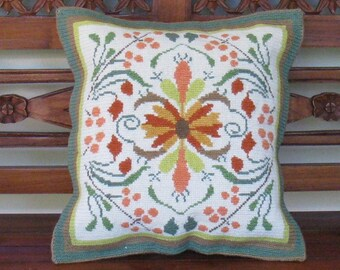 "Vintage needlepoint cushion ""Autumn Flowers"". Traditional Greek handicraft which today embodies rustic-luxe."