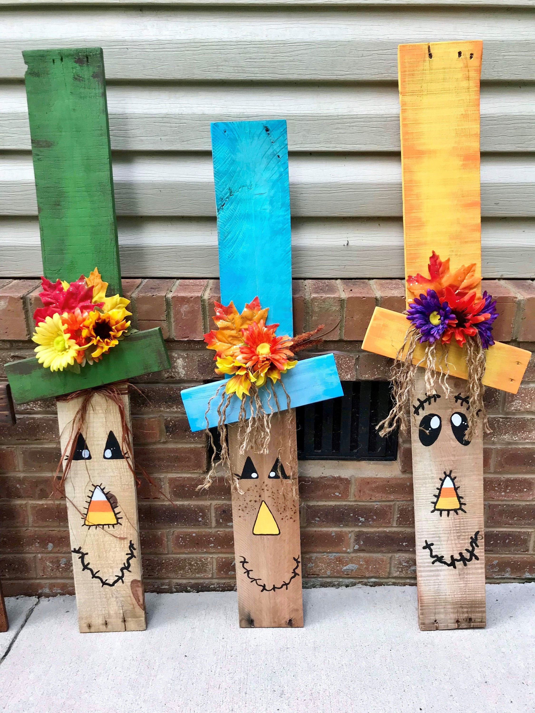 Fall porch Decor Harvest Decorations Pallet wood Scare ...