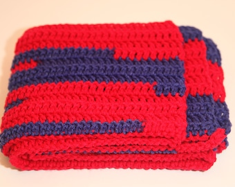 bea4785f5 Handmade Crocheted Scarf - New York Giants Team Colors - Red and Blue