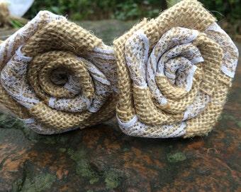 10pcs Natural Burlap Lace Roses Flower Long Stem Rustic Wedding Table Vase decor