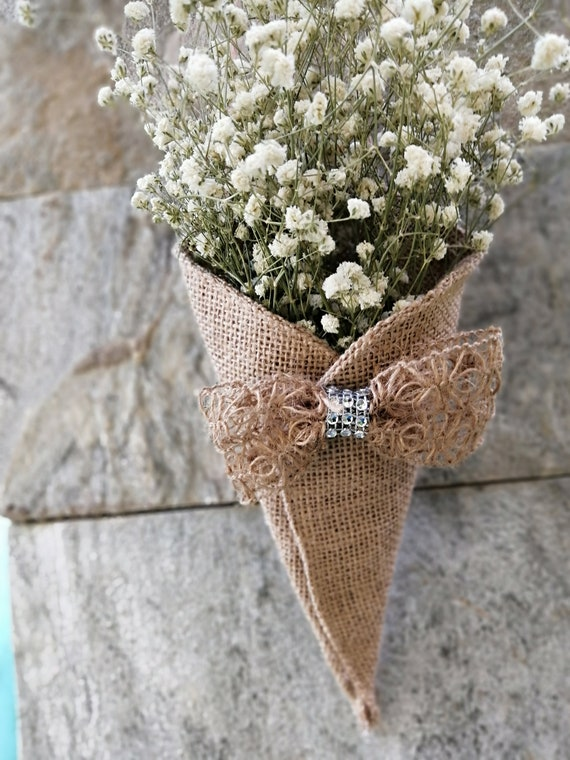 Rustic Country Wedding Decor 5 pcs//set Burlap Cone Decoration with White Lace