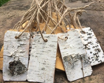 10//50/100 Rustic Wedding Favor Antique Rustic Vintage birch bark Gift tags