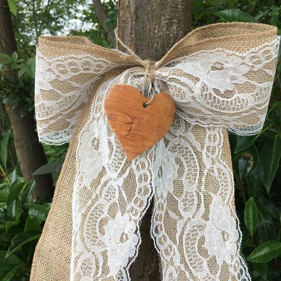10-100pcs Hessian Jute Bows Lace Embellishments Chic Rustic Wedding Craft  Decor