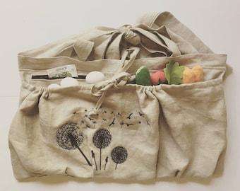Half Apron, 100% Linen Garden apron, Gardener apron, Deep ZIPPER pocket, Gathering apron, Harvesting, Basket, Produce apron, Egg gathering