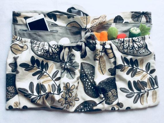 Linen Garden Gathering Apron Sustainability Gray with Deep Zipper Pocket Option