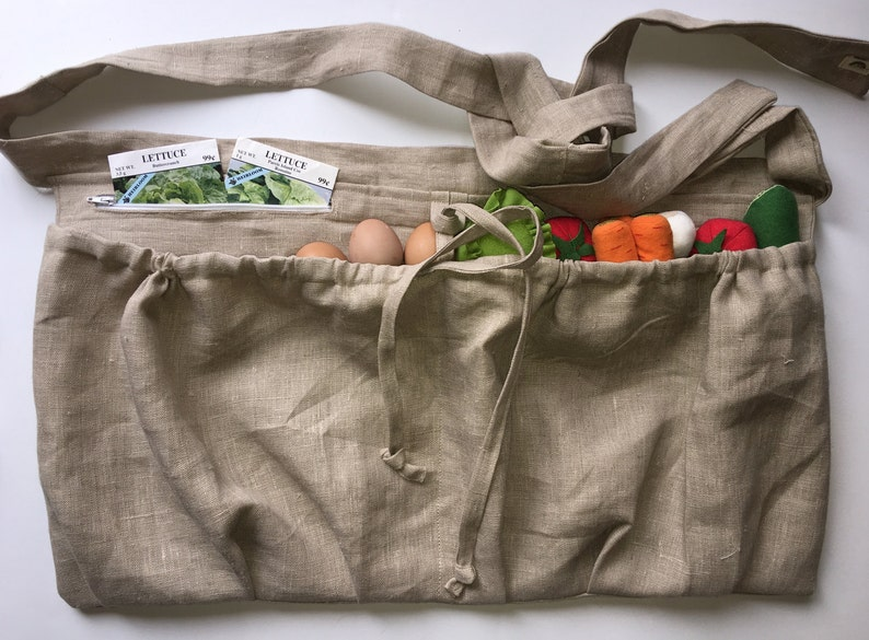 Produce apron Gathering apron Deep Pocket Zipper 100/% Natural Linen Harvesting Apron Gardener Harvest apron Basket apron