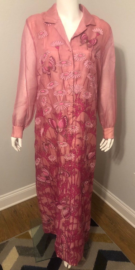 Alfred Shaheen 1970's Pink Butterfly Dress