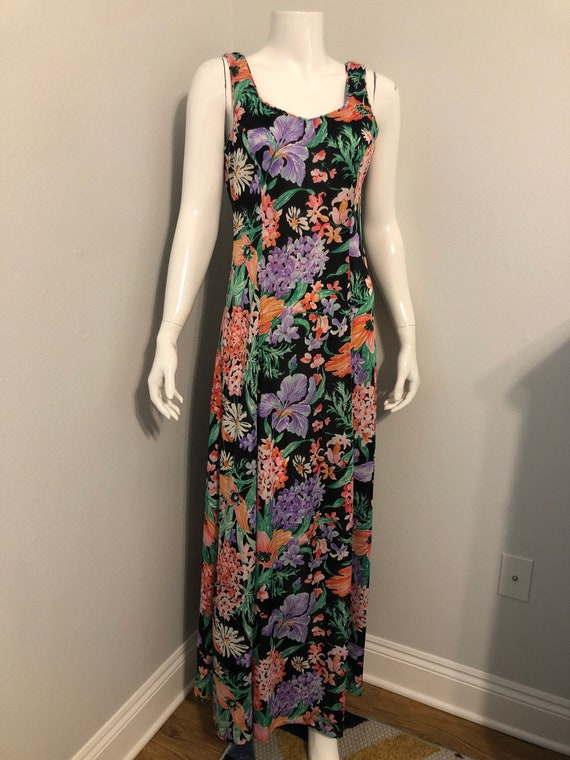 1960's Serbin by Miriam Ryan long floral dress