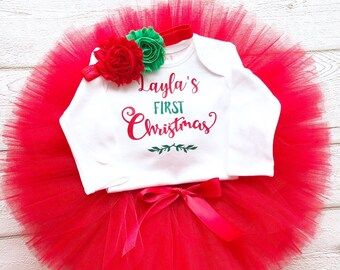 personalised first christmas tutu outfit red and green baby girl my 1st christmas personalized name