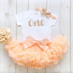 Peach & Rose Gold 1st Birthday Baby Girl First Tutu Outfit Glitter Number 1st Cake Smash Photo Shoot Pettiskirt Bodysuit Vest One Baby Girl