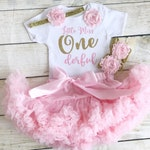 Little Miss Onederful Pink & Gold First Birthday Tutu Outfit, Glitter Number, Matching Headband Barefoot Sandals Baby Girl, 1st Cake Smash
