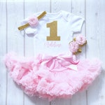 Personalised Pink and Gold First Birthday Tutu Outfit, Baby Girl, 1st Cake Smash Outfit