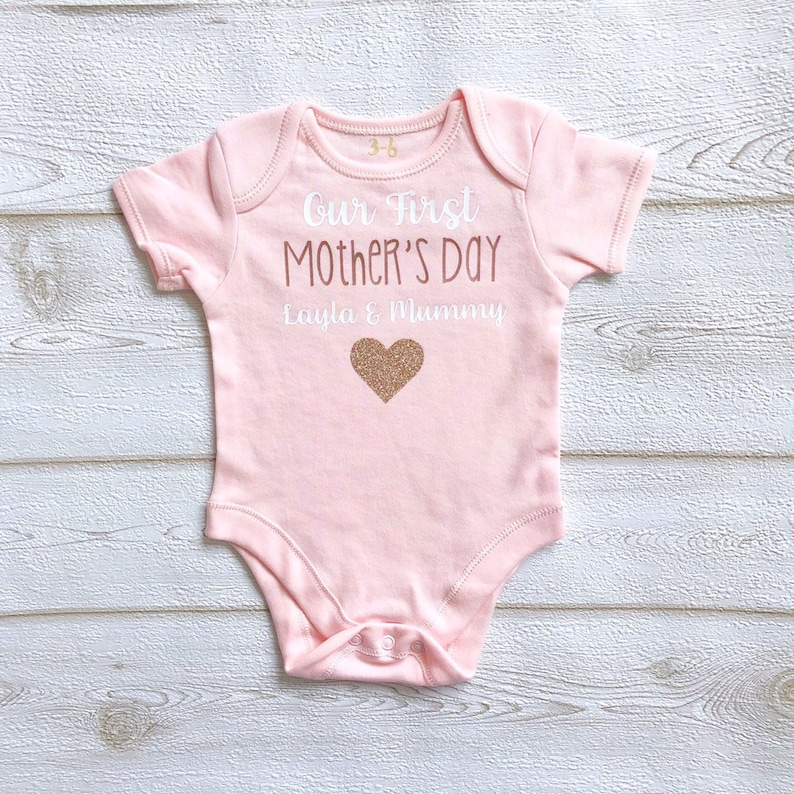 Personalised Our First Mother's Day Bodysuit Vest Girls image 0