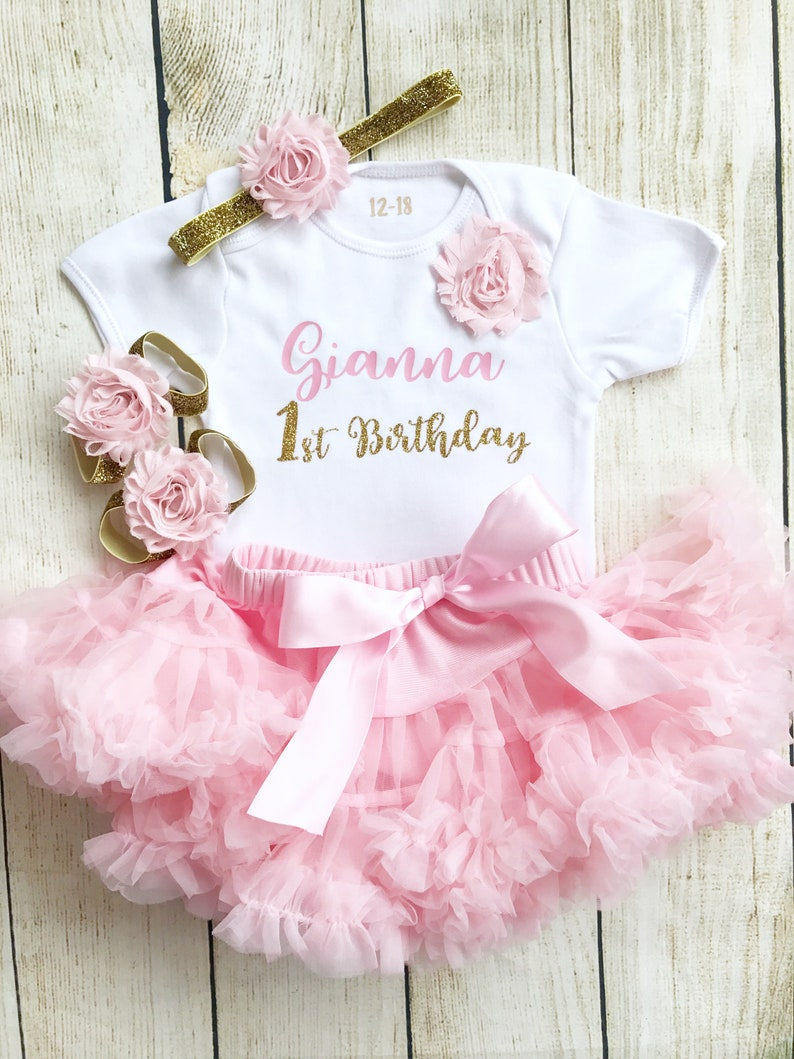 Personalised Pink & Gold First Birthday Tutu Outfit Glitter image 0