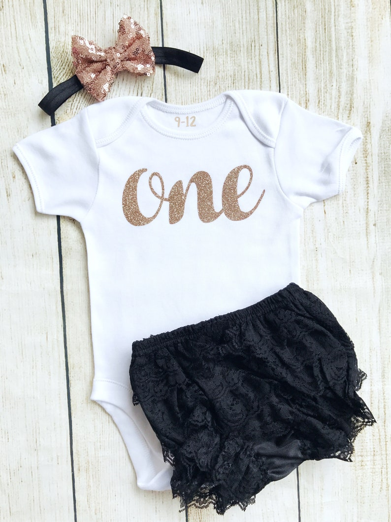 Black & Rose Gold First Birthday Outfit  Bodysuit Headband image 0