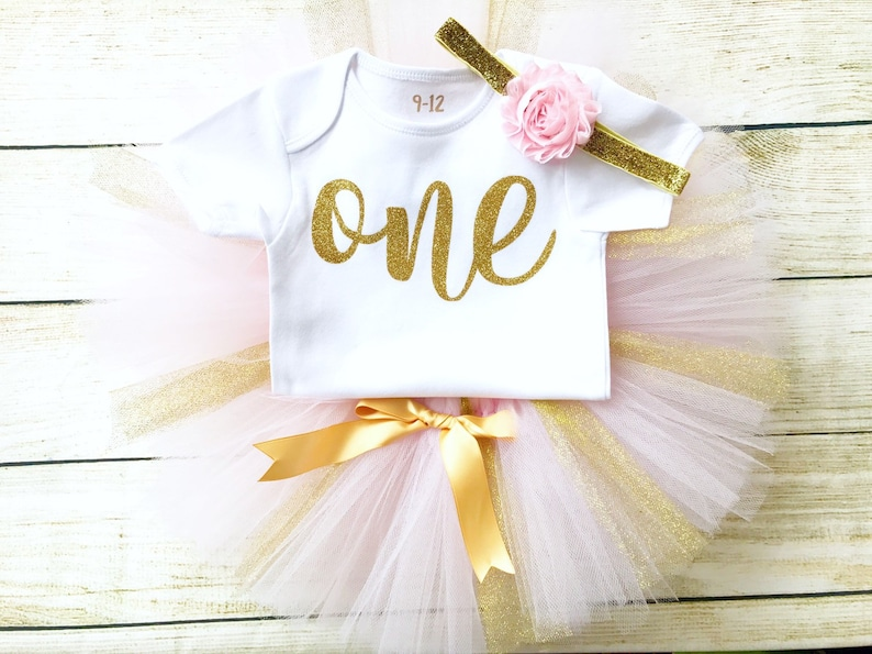 Pink & Gold Birthday Tutu Outfit Gold Glitter Number Top image 0