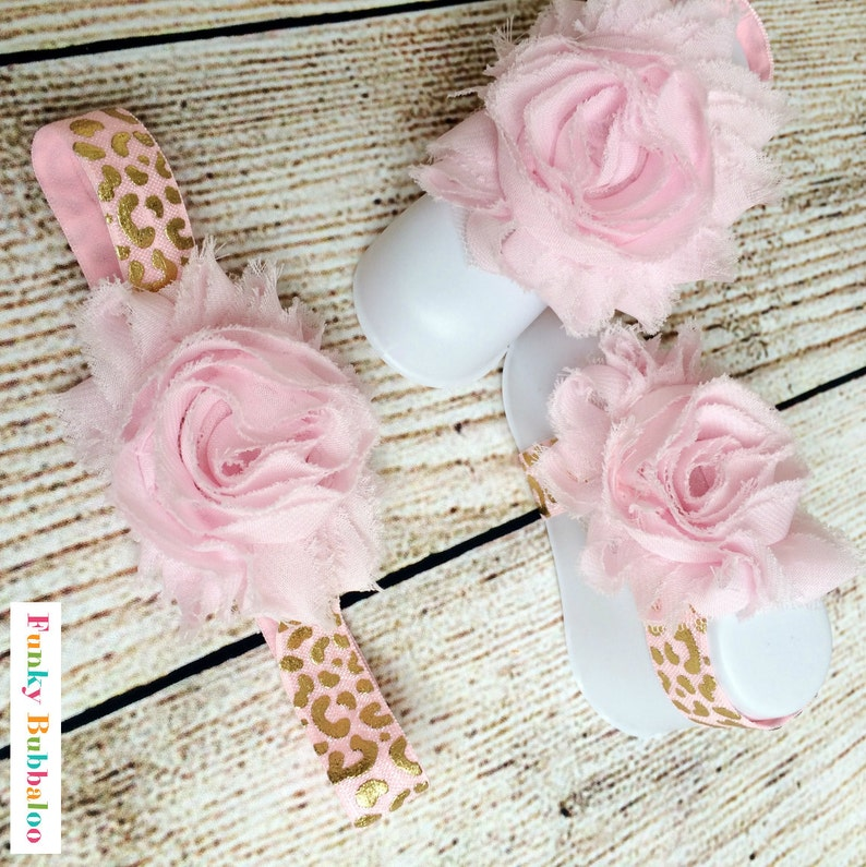 Baby Barefoot Sandals & Headband Gift Set  Pink Gold Leopard image 0