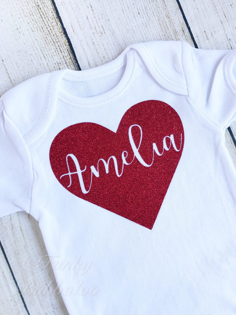Personalised Valentine  Red Glitter Heart Name  Age 0-8yrs  image 0