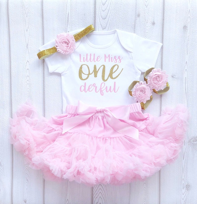 Little Miss Onederful Pink and Gold First Birthday Tutu image 0