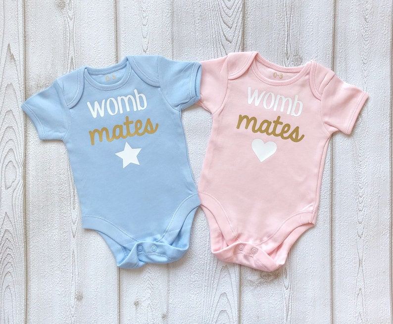 Newborn Twins Womb Mates Bodysuits Outfit  Baby Pink Blue image 0