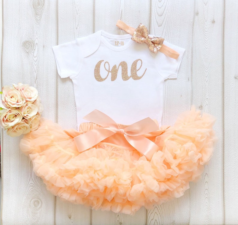 Peach & Rose Gold 1st Birthday Baby Girl First Tutu Outfit image 0