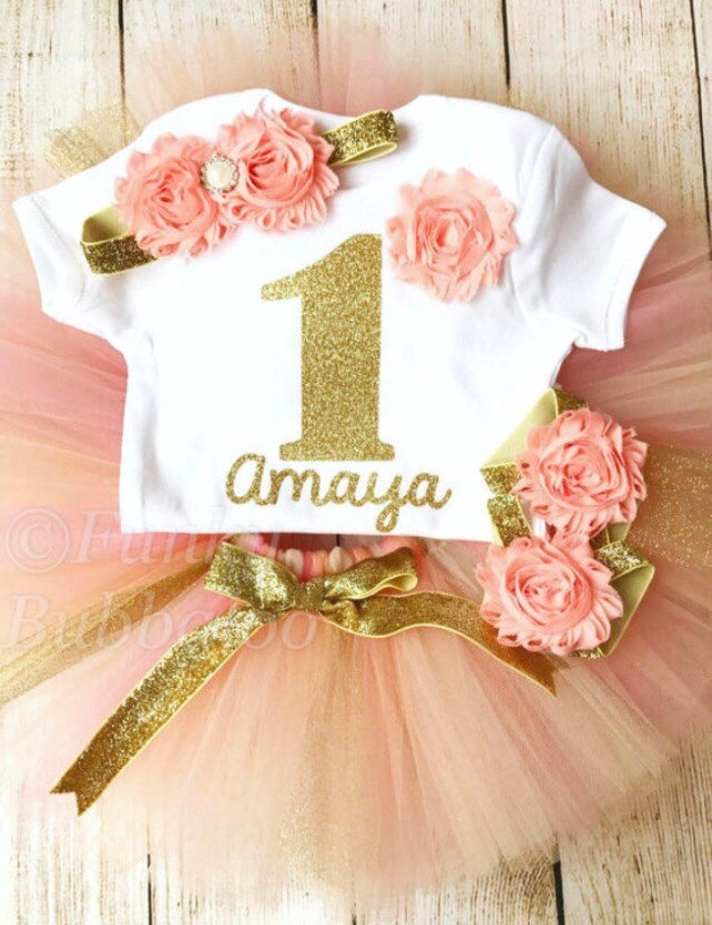 Peach Coral & Gold Personalised First Birthday Tutu Outfit image 0