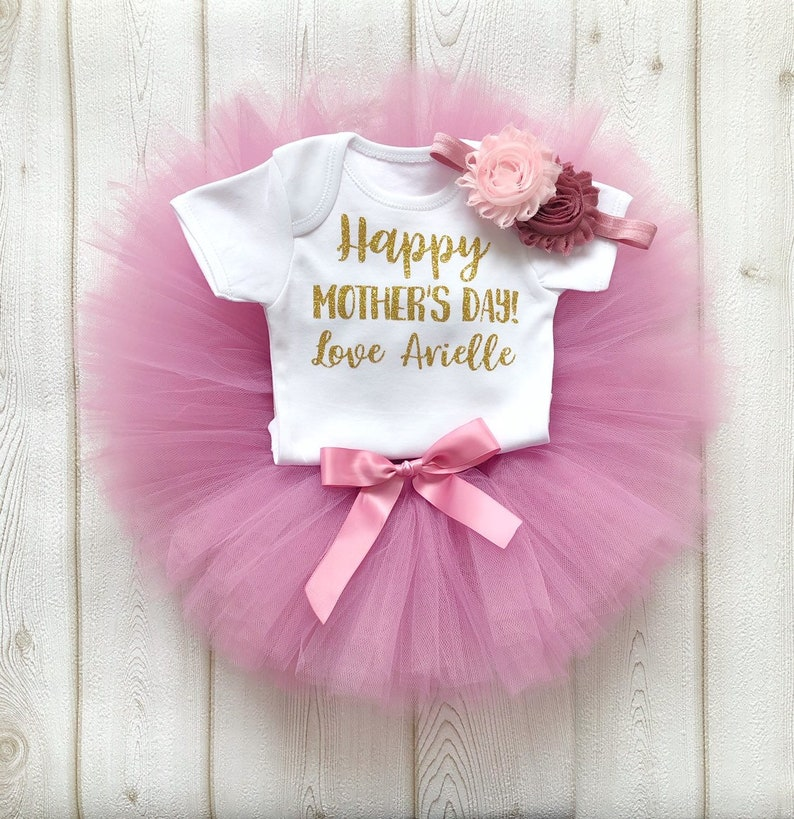 Happy Mother's Day Outfit Personalised Dusky Pink & Gold image 0