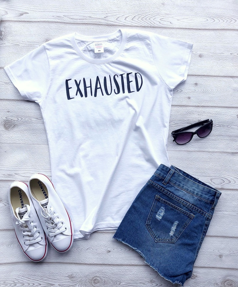 EXHAUSTED Mum TShirt Mother's Day T-shirt Tee image 0