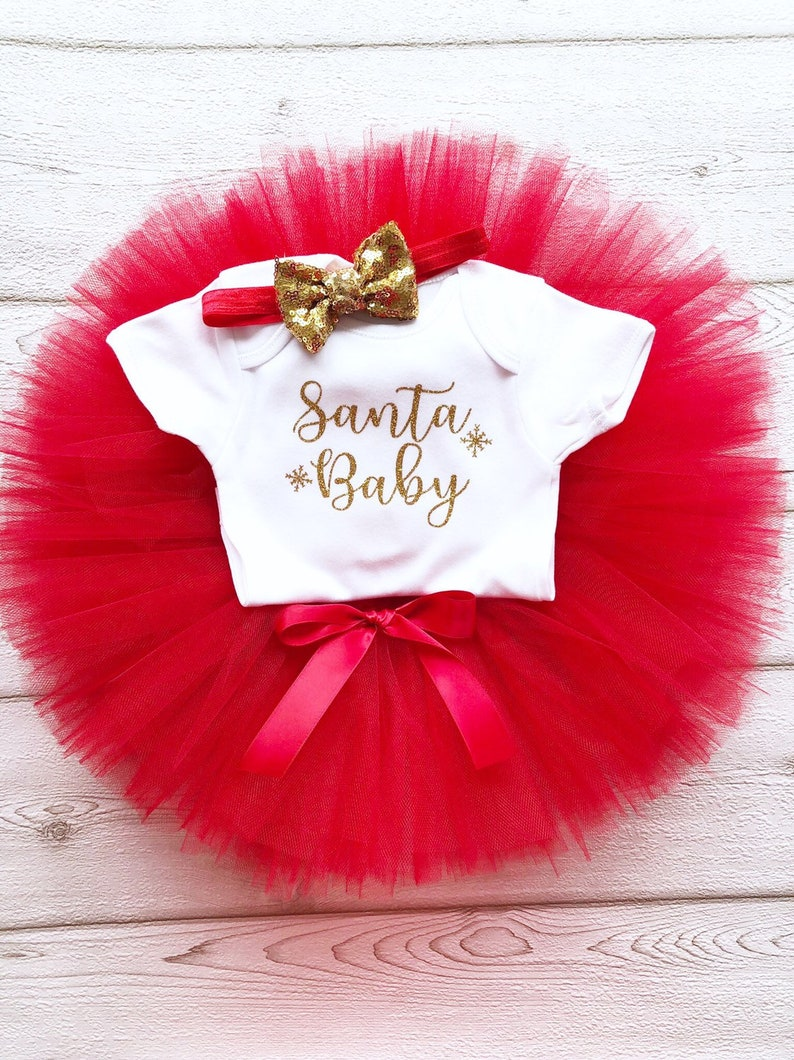 Santa Baby Christmas Tutu Outfit Red & Gold Glitter Baby image 0