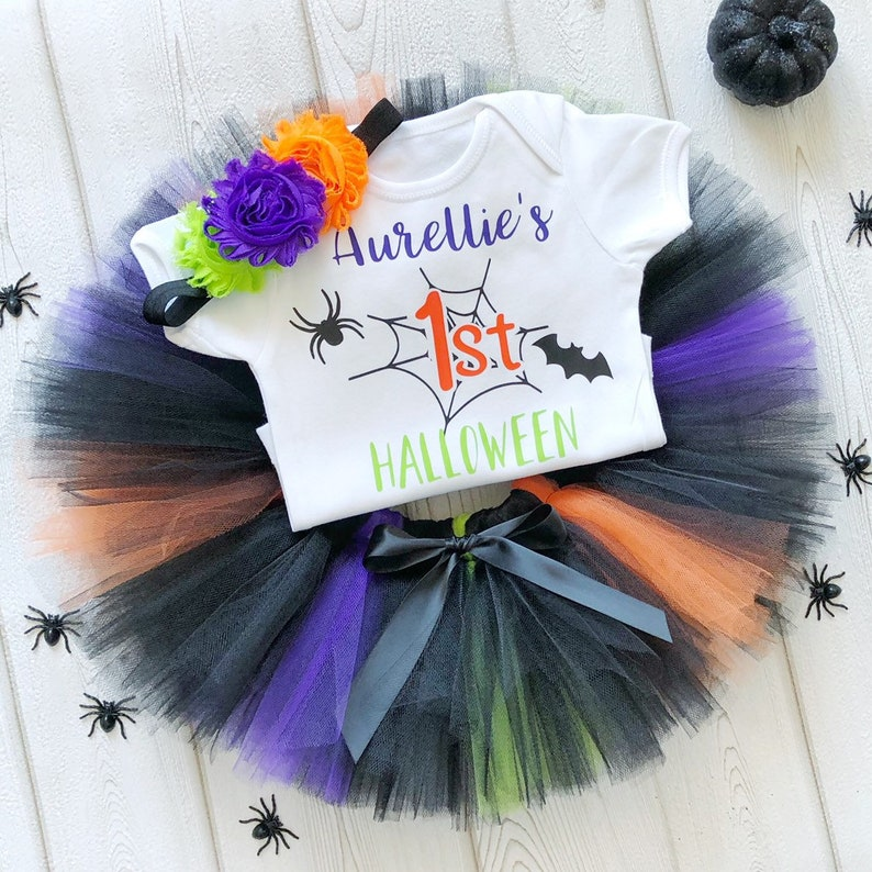 Personalised My First Halloween Tutu Costume Vest Bodysuit image 0