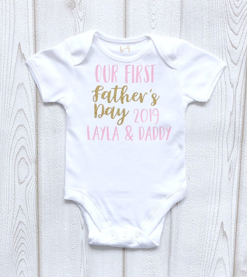 Personalised Our First Father's Day Bodysuit Vest Girls image 0