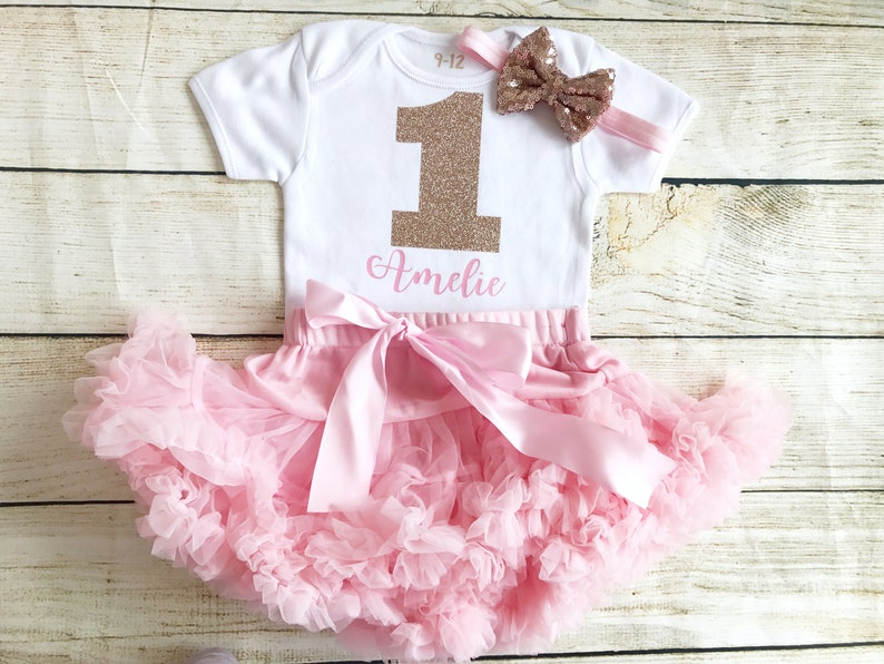 25bc2234f Personalised Rose Gold   Pink First Birthday Tutu Outfit