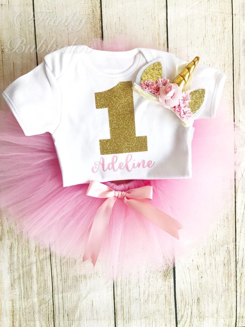Personalised Unicorn 1st Birthday Tutu Outfit Gold Glitter image 0