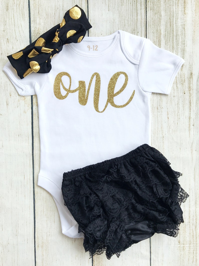 Black & Gold First Birthday Outfit  Bodysuit Headband Head image 0