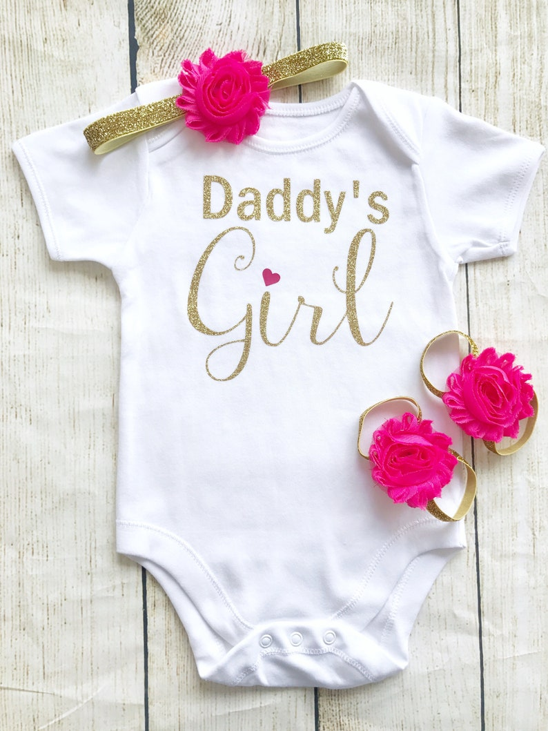 Daddy's Girl Baby Bodysuit Set Pink & Gold Glitter First image 0