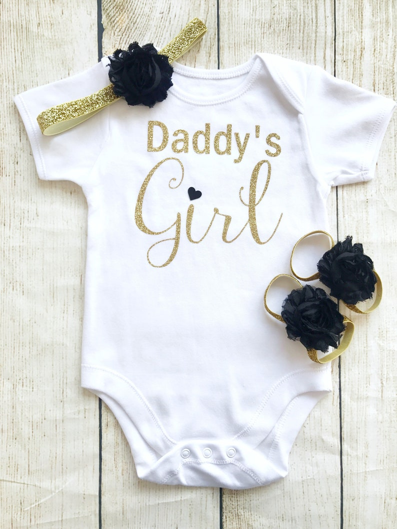 Daddy's Girl Bodysuit Set  Black & Gold Glitter  First image 0