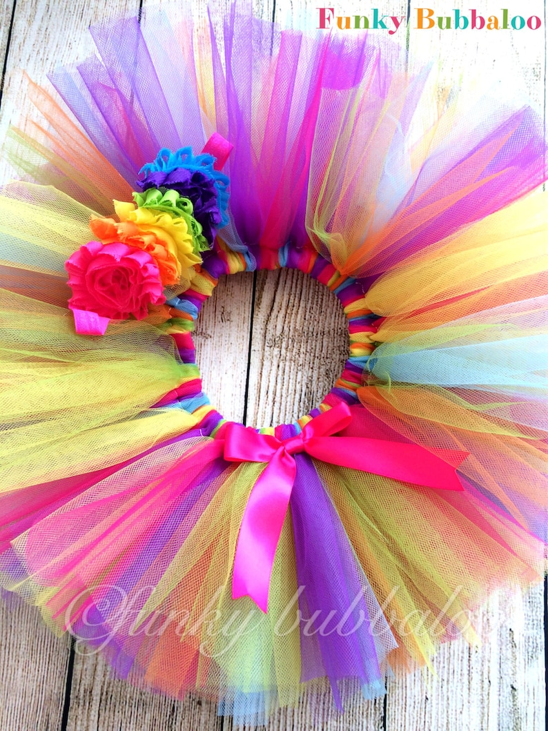 Rainbow Handmade Sewn Tutu with Matching Headband Babies image 0