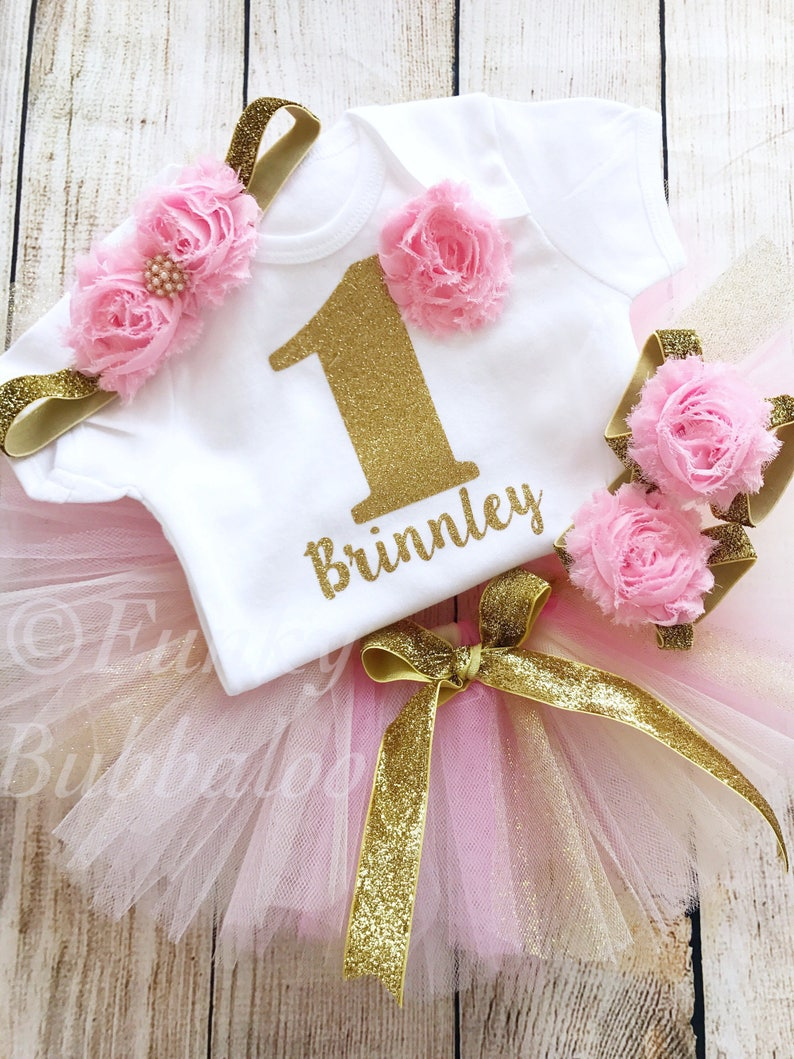 Pink Cream & Gold Personalised First Birthday Tutu Outfit image 0