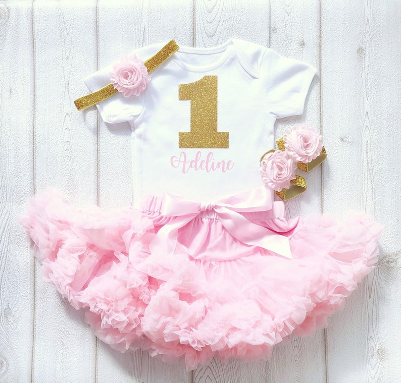 Personalised Pink and Gold First Birthday Tutu Outfit Baby image 0
