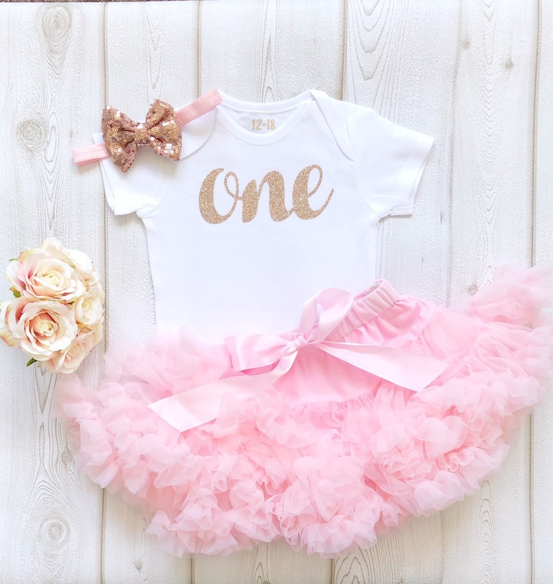 Rose Gold Pink 1st Birthday Tutu Outfit Baby Girl Glitter image 0