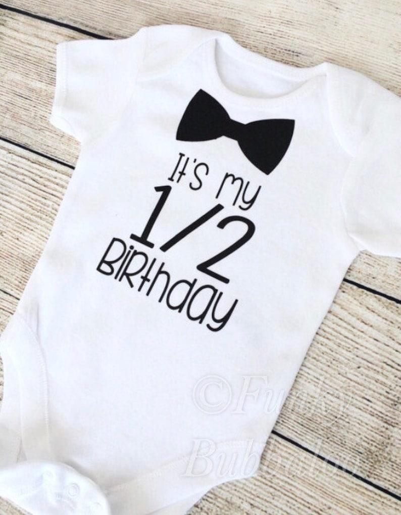 Half Birthday  6 Month Baby Boy Outfit  Black Bodysuit  image 0