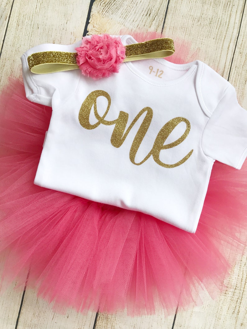 Coral & Gold First Birthday Tutu Outfit Glitter One Bodysuit image 0