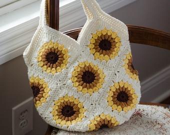 Crochet Bag Pattern, Granny Square Crochet Pattern,  Crochet Sunflower purse pattern, Instant Download PDF