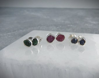 Raw red sapphire earrings,gemstone stud earrings,hypoallergenic earrings,crystal searrings,fashion stud earrings,surgical steel,raw stones